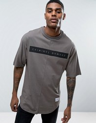 Criminal Damage Relaxed Fit T Shirt With Curved Hem Gray