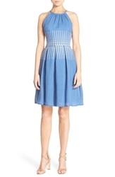 Women's London Times Embroidered Woven Fit And Flare Dress Periwinkle