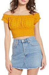 Ten Sixty Sherman Off The Shoulder Eyelet Top Marigold