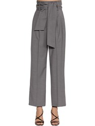 Msgm High Waisted Wide Leg Cool Wool Pants Grey