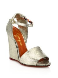 Charlotte Olympia Cracked Metallic Leather Wedge Sandals Silver