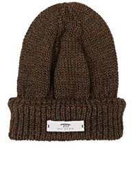 Inis Meain Men's Mixed Knit Baby Alpaca Silk Slouchy Beanie Brown