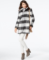 Kensie Stand Collar Plaid Coat