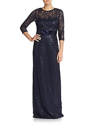 Teri Jon Beaded Lace Illusion Gown Navy