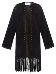 Valentino Stud Embellished Fringed Suede Coat Black
