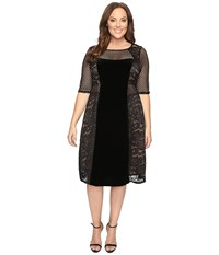 Kiyonna Mixed Lace Cocktail Dress Dark Caramel Women's Dress Brown