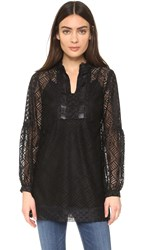 Anna Sui Geometric Lace Tunic Black Multi