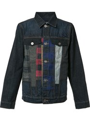 Mostly Heard Rarely Seen Checked Detailing Denim Jacket Blue