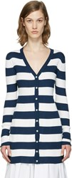 Dolce And Gabbana Navy Striped Long Cardigan