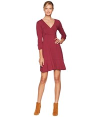 Mod O Doc Cotton Modal Spandex Jersey Surplice Front Dress With Flounce Hem Cranberry Red