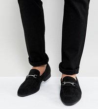Asos Wide Fit Loafers In Black Faux Suede With Snaffle Detail