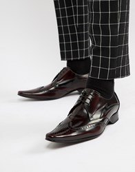 Jeffery West Pino Lightning Bolt Lace Up Shoes In Burgundy Red