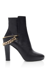 Lanvin Shiny Kangaroo Leather Heeled Boots With Chain Detail Black