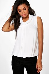 Boohoo High Neck Sleeveless Blouse Cream