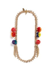 Venna Glass Pearl Star Tassel Charm Mixed Chain Necklace Multi Colour