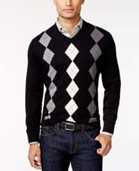 Club Room Big And Tall Argyle Sweater Only At Macy's Deep Black