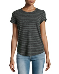 James Perse Argyle Striped Cotton Jersey Tee Charcoal Green