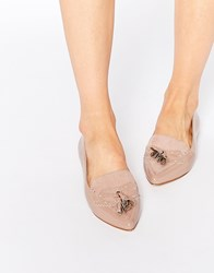 Faith Aaliyah Nude Tassel Pointed Toe Flat Shoes Beige