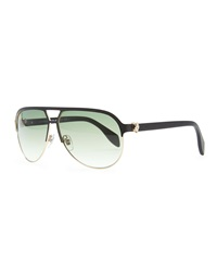 Gold Skull Aviator Sunglasses Black Alexander Mcqueen