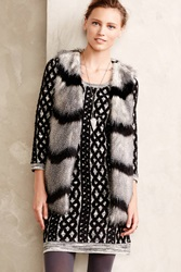Elevenses Ostrich Stripe Faux Fur Vest Dark Grey