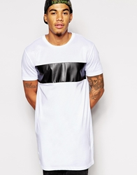 Asos Longline T Shirt With Leather Look And Mesh Panels And Relaxed Skater Fit White