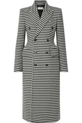 Balenciaga Double Breasted Houndstooth Wool Blend Coat Black