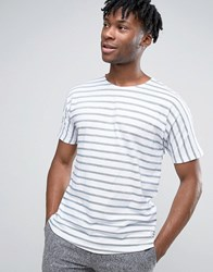 Only And Sons Crew Neck Striped T Shirt Real Teal Navy