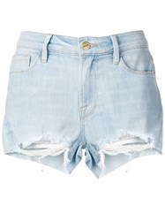 Frame Distressed Denim Shorts Blue