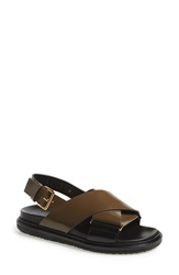 Marni 'Criss Cross' Sandal Women Dark Olive Coal Leather