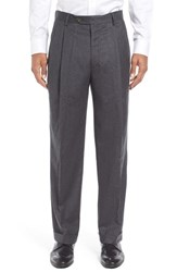 Berle Men's Big And Tall Pleated Solid Wool Trousers Medium Grey