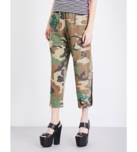 Marc Jacobs Embellished Camo Print Mid Rise Cotton Trousers Multi