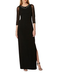 Laundry By Shelli Segal Three Quarter Sleeve Jewelneck Column Gown Black