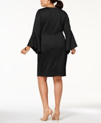 Love Squared Trendy Plus Size Bell Sleeve Sheath Dress Black