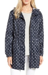 Joules Women's Right As Rain Packable Print Hooded Raincoat Navy Spot