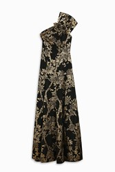 Andrew Gn One Shoulder Broderie Gown Black