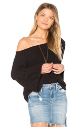 525 America Off Shoulder Tulip Sweater Black