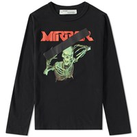 Off White Long Sleeve Skull Mirror Tee Black