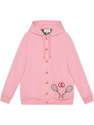 Gucci Embroidered Hoodie Pink