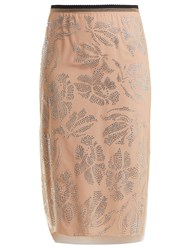 N 21 Floral Crystal Embellished Tulle Pencil Skirt Pink Multi