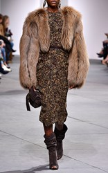 Michael Kors Collection Arctic Marble Fox Fur Jacket Brown