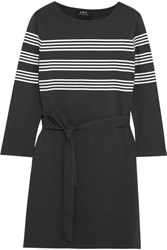A.P.C. Atelier De Production Et De Creation Esther Striped Cotton Jersey Mini Dress Black