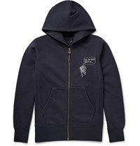 Visvim Zip Up Printed Loopback Cotton Jersey Hoodie Blue