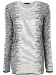 Alexander Wang Frayed Tunic Sweater Rayon Angora Metallic Fibre Nylon White