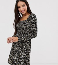 New Look Tall Square Neck Long Sleeve Dress In Ditsy Floral Black