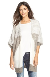 Woven Heart Slouchy Cocoon Cardigan Grey Ivory