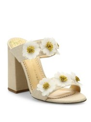 Charlotte Olympia Rosette Floral Embroidered Linen Block Heel Mules Natural