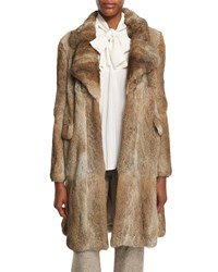 Mid Length Rabbit Fur Coat Brown White Brown White
