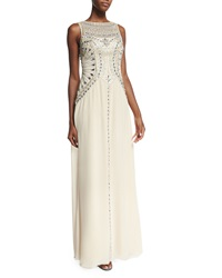 Sue Wong Sleeveless Beaded Flowy Gown