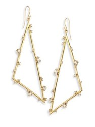 Alexis Bittar Elements Crystal Triangle Earrings Gold