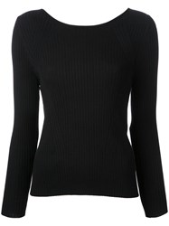 Torrazzo Donna Ribbed Back Twist Jumper Women Cotton One Size Black